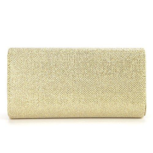 Glitzer Damen Clutch Tasche Handtasche Abendtasche Umhaengetasche Kettentasche gold