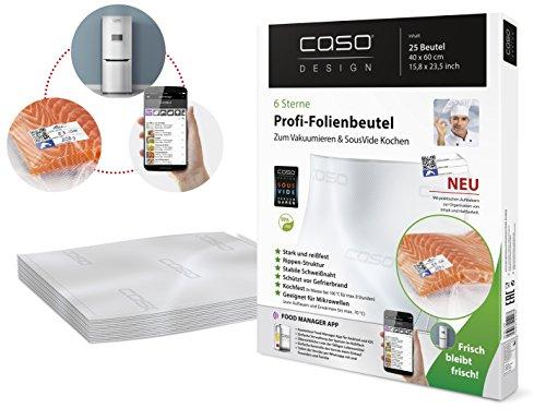 CASO Profi- Folienbeutel 40x60 cm / 25 Beutel, für alle Balken Vakuumierer, BPA-frei, sehr stark & reißfest ca. 150µm, kochfest, Sous Vide geeignet, wiederverwendbar, für Folienschweißgeräte geeignet -