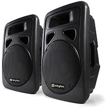 """Skytec Sonido profesional Pareja de Altavoces autoamplificados DJ 12""""(30cm) 300W RMS 600 W máx. ABS Bass Driver Sección de micrófono Diseño monitor Montaje soporte trípode Asas de transporte"""