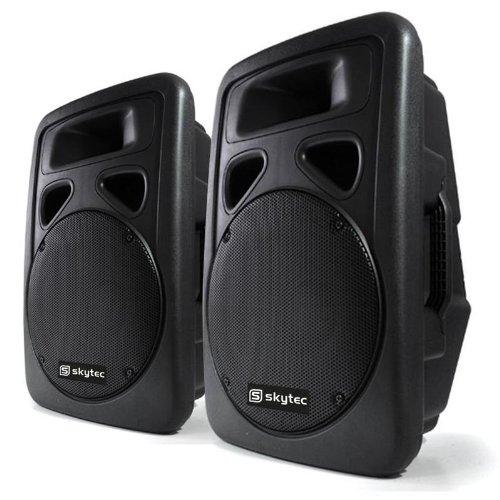 Skytec Aktiv-Lautsprecher-Paar 38cm PA-Boxen mit je 400 Watt RMS (XLR-Mikrofon Eingänge, Outdoor-ABS-Gehäuse, 2-Wege) schwarz