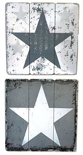 BADA BING Holz Schild Stern grau 40 x 40 Wand Bild Landhaus 639 + Feng-Shui Buch