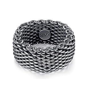 Beglie 925 Silber Ring Herren Ring Vintage Geflochten Verlobungsring Trauringe Siegel-Ring