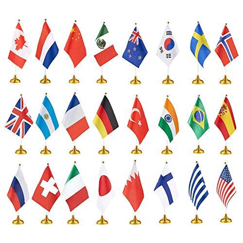 Juvale Besteckset Country Flaggen –, International Flaggen mit Ständer, Welt Flaggen für Schreibtisch, Tischdekorationen, 20,3x 14cm