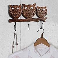 Wooden Wall Hooks Rack (Owl Shaped) with Free Mustache Keychain Multi Utility Coat Key Hat Scarf Bags Towel Robe Hanger 3 Hooks Storage Organiser Home Decor for Gifting Purpose