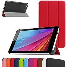 "Huawei MediaPad T1 7.0 Ultra Funda,Mama Mouth Ultra Slim Ligera PU Cuero Con Soporte Funda Caso Case para 7"" Huawei MediaPad T1 7.0 T1-701W Android Tablet,Rojo"