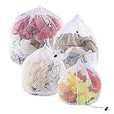 Yoassi 4 Stück Waeschesack Waschmaschine mit Kordelstopper Wäschebeutel Wäschesack für Waschmaschine, Unterwäsche, Babywäsche, Socken, Kaschmir