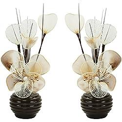 Flourish Creative Florals A Juego Par de Crema y marrón Flores Artificiales en jarrón de café, Decoraciones de Mesa, Accesorios para el hogar, Regalos, Adornos, Altura 32cm