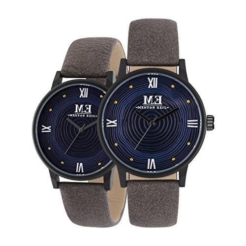 Menton Ezil Einzigartige Armbanduhr Paaruhren für Damen und Herren Spezielles Zifferblatt-Design Roségold Edelstahlgehäuse Braunes Armband Analog Quarz 3 ATM Wasserdicht