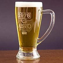 Regalo personalizable: jarra de cerveza baviera grabada con el nombre y año de nacimiento