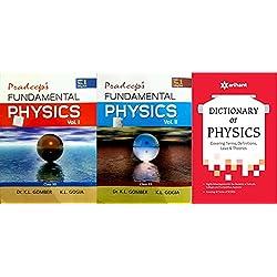 COMBO SET PRADEEP FUNDAMENTAL PHYSICS VOL I/II CLASS 12 WITH DICTIONARY OF PHYSICS SET OF 3 BOOKS EXAM 2018-19