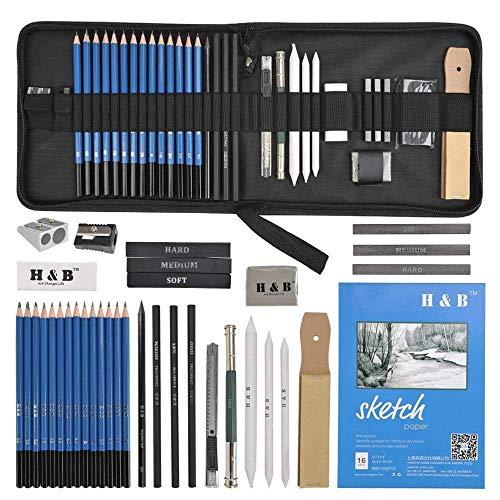 LOOSMD 35PCS Drawing Pencils Set für Künstler Sketching Pencils Art Set mit Skizzenpapier Reißverschluss Fall enthält Graphit Pastell Kohlestifte und Zubehör