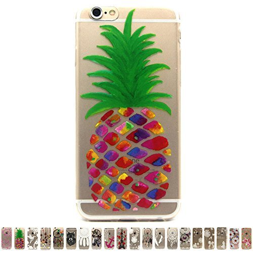Für iPhone 6Plus Schutzhülle, gravydeals Ultra Dünn Lovely Relief Print Buntes Muster TPU Soft Case Gummi Silikon Skin für Apple iPhone 6Plus 14cm, Ananas -