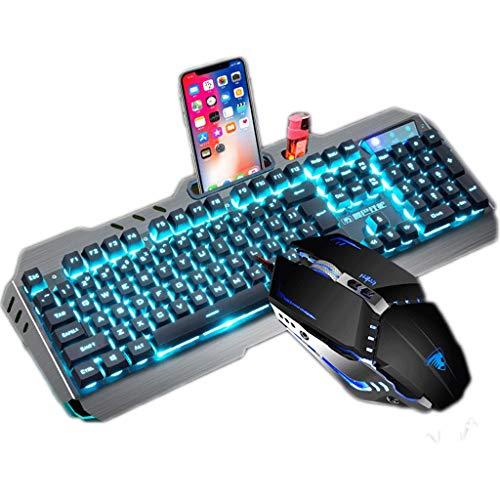 OFNMD Mechanische Maus Tastatur Headset Wired Dreiteiliges Set Desktop E-Sport Spiel Alloy Blendung, QWERTY Tastatur (Farbe : Silver Grey Ice Blue Light)
