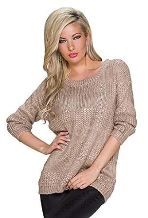5319 Fashion4Young Damen Locker geschnittener Langarm-Pullover Pulli in 6 Farben Gr. 36/38 (36/38, Beige)