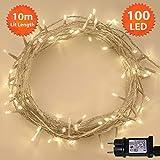 Weihnachts-Lichterketten 100 LED warme weiße Baum-Lichter Innen- und im Freiengebrauch Weihnachtsschnur-Lichter Netzbetriebene feenhafte Lichter 10m Lit-Länge - KLARES KABEL