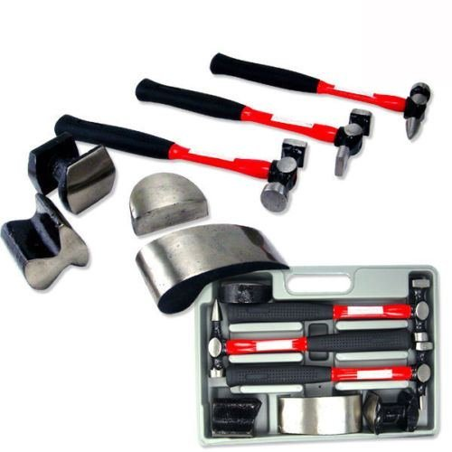 7 pc Heavy Duty Dent Auto Body Fender Repair Hammer Dolly Professional Kit Set by Socket Wrenches (Dolly Hammer)