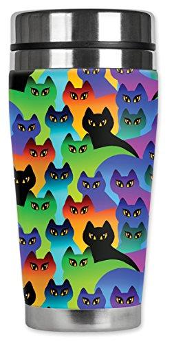 Mugzie ® MAX 20 ml tasse de voyage en acier inoxydable avec combinaison isotherme Motif Silhouettes de chat
