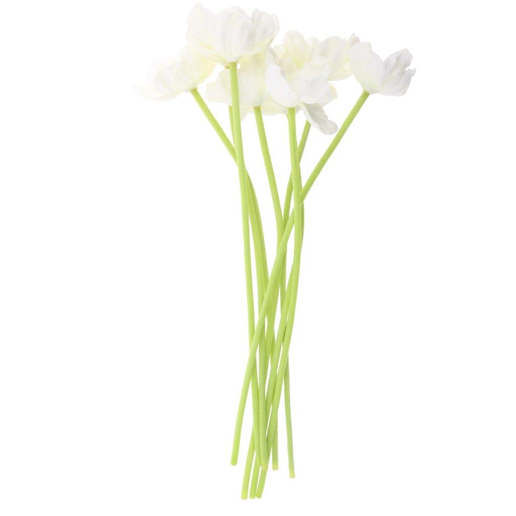 petsola 8 Piezas De Simulación Artificial Flores De Amapola En Flor PU Bouquet Arte Decoración – Beige