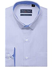 Charles Dino Mens 100% Giza 2 Ply Cotton White & Blue Stripe for Formal Wear