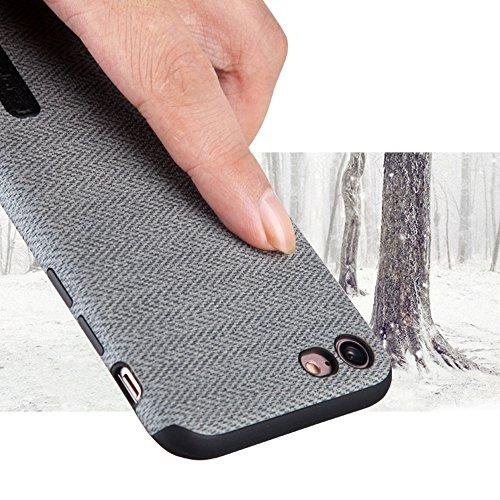 """MOONCASE iPhone 7/iPhone 8 Hülle, Weich TPU Kratzfest Stoßfest Schutztasche [Fabric Pattern] Schroff Rüstung Handysocken Case für iPhone 7/iPhone 8 4.7"""" Khaki-2 Grey-1"""