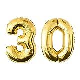 NUOLUX 52.49 pulgadas de oro de la hoja de globo, Globo Jumbo número 30 para el cumpleaños del festival Aniversario de la fiesta Decoraciones Photo Props