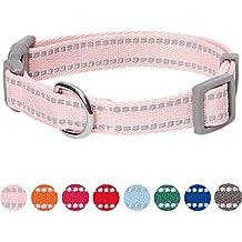 Umi. by Amazon - collare per cani catarifrangente, taglia S, collo 30-40 cm, regolabile, colore pastello rosa baby