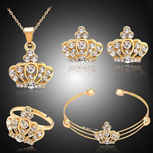 Kostüm Ring Opal - Lilyeyes Kronen-Schmuckset für Damen, mit Strass, Inhalt: Halskette, Armband, offener Ring, Ohrringe