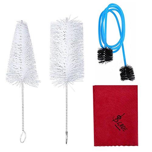 Dilwe Trompeten Reinigungsset, Trompetenmundstück Bürste Ventilbürste Flexible Bürste Reinigungstuch Werkzeugset Instrumenten Pflegezubehör
