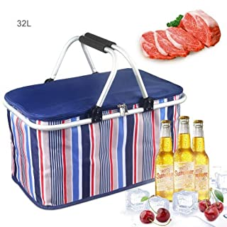 Oumers 32L Large Family Size Picnic Insulated Bag, BBQ Meat Drinks Cooler Bag Ultra-size Folding Collapsible Basket for Holidays Parties Outdoor Travel, Picnic, Grill - Blue