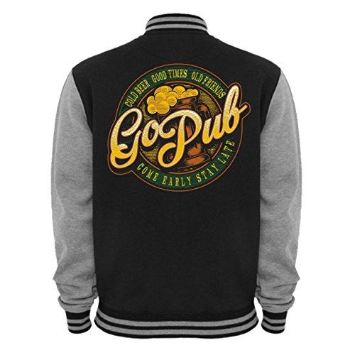 Uomini e uomo Baseball giacca Go Pub (con retro stampa) nero/grigio XXL