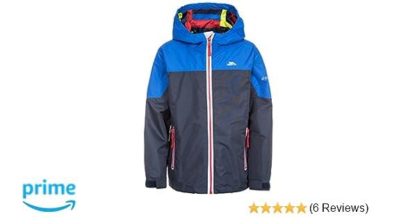 Trespass Tiebreaker Boys Waterpoof Jacket Windproof Rain Coat in Navy /& Grey