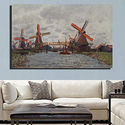 Unbekannt no Brand Impressionis Künstler Claude Monet Windmühle in der Nähe von Zaandam Landschaft Ölgemälde auf Leinwand Kunst Wandbild Leinwand für Raumdekor 50x70cm Kein Rahmen