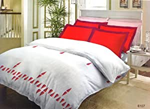 Bombay Dyeing Wendell Rodricks Classic Collection Cotton Double Bedsheet with 2 Pillow Covers - Red (610701)