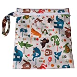 PANYTOW Baby Waterproof Zipper Bag Washable Reusable Baby Cloth Diaper Bag w/ Animals and Flowers Pattern Beige