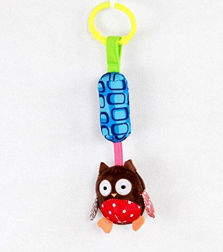 Luxury-uk Soft Book für Kleinkinder Cartoon Tier Soft Flock Stoff Hänge Rassel Kleinkind Spielzeug mit Klingelton Glocke (Brown Owl)