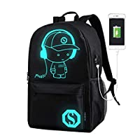Azornic Boys Girls Outdoor Backpack School Bag Anime Luminous Backpack Daypack Shoulder Laptop Bag with USB Charging Port and safety lock (L)