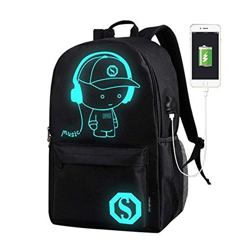 Borse scuola per ragazzi, Anime Canvas Canvas luminoso con cavo USB per ragazzi Ragazzi ragazze (nero)