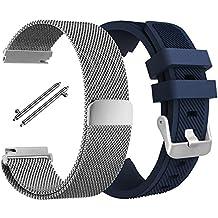 Correa para Samsung Gear S3 Frontier / Classic, AFUNTA 1 Pulsera Reemplazo de Acero Inoxidable con Milanese Bucle Malla Magnético, 1 Silicona Band Strap para Samsung S3 Smartwatch-Plata, Azul