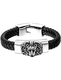 fac756dee4db Oidea Fantaisie Bijoux Homme Bracelet Chaîne de Main Style Punk Rock Tête  de Lion Acier Inoxydale Corde Cuir Tessé…