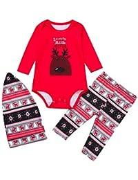 OverDose Damen Frohe Weihnachten Cartoon Bluse Hosen Familie Eltern-Kind-Pyjamas Nachtwäsche passende Weihnachten Home Party Soft Slim Set