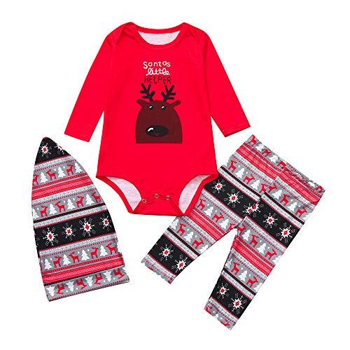 OverDose Damen Frohe Weihnachten Cartoon Bluse Hosen Familie Eltern-Kind-Pyjamas Nachtwäsche passende Weihnachten Home Party Soft Slim Set(Kind 2,12-18 Monate) -