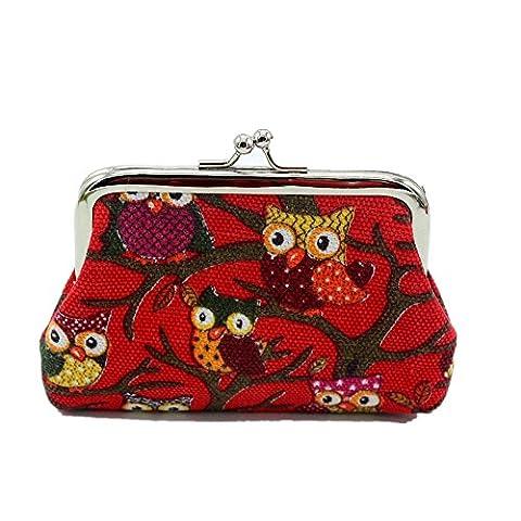 Ouneed® Hibou Pochette Porte Monnaie en Cavas (12cmX9cm Rouge)