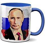 PAPAYANA - 1068 - Putin-Portrait-Russia - Beidseitig Bedruckte Tasse 325ml 11oz - Große Farbauswahl - Royalblau