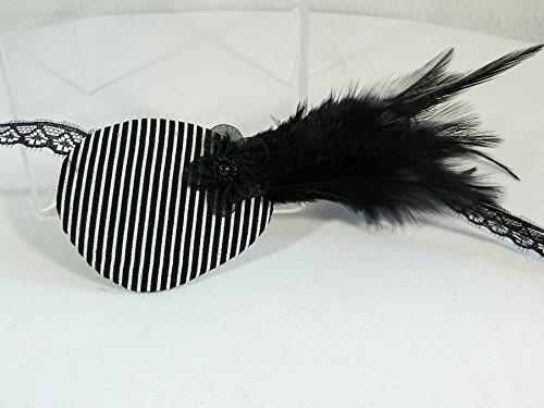 Augenklappe links gestreift schwarz weiß Eyepatch Karneval Pirat Gothic -