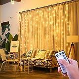 ShinePick LED Lichtervorhang, 3m x 3m 300 LED Fernbedienung Timer 8 Modi Wasserdicht Lichterkette Weihnachtsbeleuchtung für Innen Außen Garten Party Hochzeit Schlafzimmer (Warmweiß)
