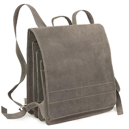 Sehr Großer Lederrucksack/Lehrerrucksack Größe XL aus Büffel-Leder, für Damen und Herren, Grau, Modell 670