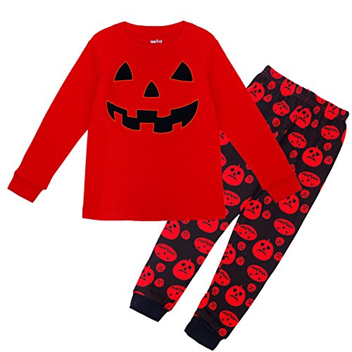 Halloween Shirt T Kostüme Rotes (CHICTRY Halloween Kostüm Unisex Baby Strampler Öhrchen Kürbis Muster Bekleidung im Set mit Langarmshirt und Hose Rot + Schwarz)