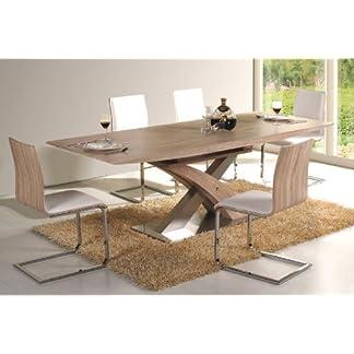 51V dIJ%2BtCL. SS324  - Jadella Raul - Set tavolo da pranzo su colonne, allungabile fino a 220 cm, con 6 sedie cantilever, effetto rovere Sonoma