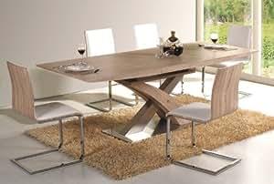Tavolo da pranzo in rovere Sonoma grezzo, mod. Raul, estensibile fino a 220 cm