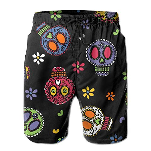 Dress rei Sugar Skulls On Black Men's Swimming Trousers Quick-Drying Beach Polyester Shorts -